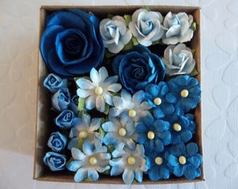 Blue Flower Embellishments - Paper Assortment - Blue Roses Buds & Daisies - Flower Appliques - Green Floral Wire Stems - Qty 24 pieces