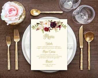 Printable Wedding Menu - Fall Floral Watercolor Wedding - Gold / Cream / Burgundy / Marsala / Wine Rustic Wedding Menu