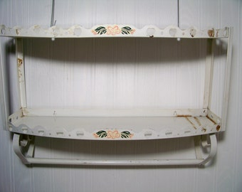 Vintage Metal Shelf  with Towel Bar Farmhouse Kitchen Shabby Chic Hearts Cut Outs