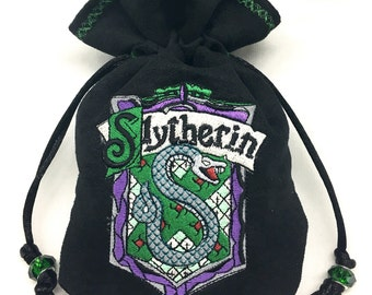 SLYTHERIN - Embroidered Drawstring Dice Bag, Rune Pouch, Tarot Card Bag made of faux suede - LARP Costume Accessory