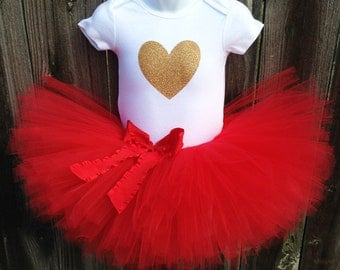 Red and Gold Valentine's Day Tutu Set | Gold Glitter Heart Tutu Set with Red or Gold Bow | Newborn-3T | First Valentine's Day