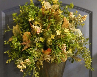 Spring Woodland Wreath , Summer Wreath , Outdoor Wreath , Wreath For The Door , Wreath , Spring Wreath , Primitive Wreath