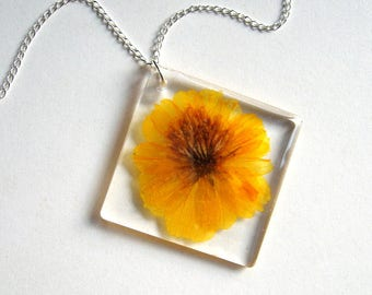 Sunset Cosmos - Real Flower Garden Necklace - botanic jewelry, flower necklace, Summer necklace, real flower, natural, Nature inspired, ooak