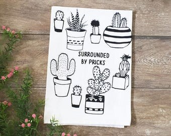 Surrounded by Pricks Cactus Cotton Kitchen Towel