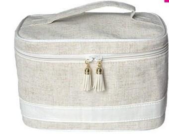 Personalized Linen Train Case, Monogrammed Linen Train Case, Linen Cosmetic Bag, Monogrammed Cosmetic Bag, Cosmetic Carry Case, Train Case