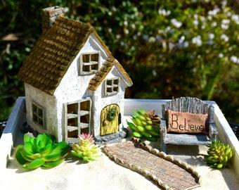 Miniature Garden Kit ~ Fairy Garden ~ Starter Set ~ Cottage ~ Bench with Pillow ~ Walkway ~ Use in Flower Garden / Planter ~ 4 piece set