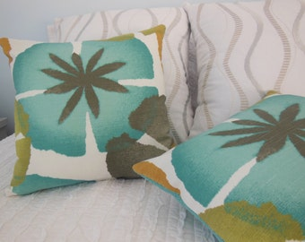 Teal/Turquoise Pillow - Large Flower Pillow - Modern Flower Pillow - Custom Pillow - 16.5 x 16.5 Inch Pillow - Sofa Pillow - Bedroom Pillow