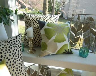 Green Pillow - Large Flower Pillow - Beige Pillow - Avocado Green Pillow - Large Pillow - 20 x 20 Inch Pillow - Sofa Pillow - Bedroom Pillow