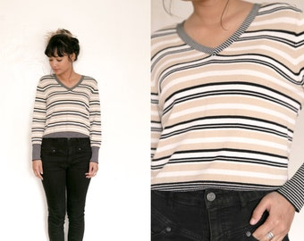 V Neck Sweater / Striped Long Sleeve Blouse / Knit Pullover / Striped Shirt / Brown Black Tan Striped Knit Top / Stretch 90s Grunge Neutral