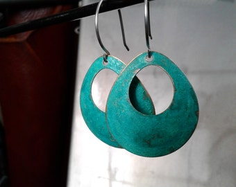 Brass Patina Dangle Earrings- Turquoise and Brass Earrings