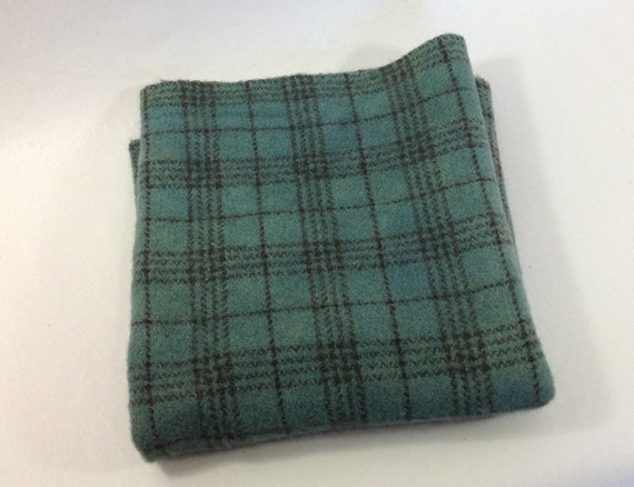 Primitive Teal Plaid, Hand Dyed Wool Fabric for Rug Hooking & Applique, Fat 1/4 yard, W303, Blue Green Plaid