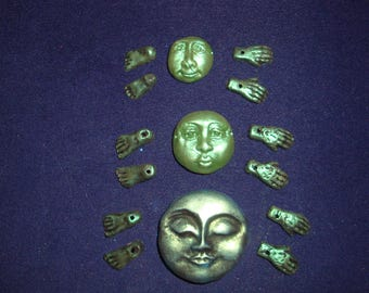 Set of Metallic Green Polymer Clay 3 Face Pendant/Beads, 3 pairs of Hands and 3 pairs of Feet