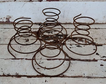 Vintage Rusty Bed Springs Coiled Wire Set of 4 Four Craft Supply Upcycle Repurpose Candle Holder Wreath Country Rustic Primitive Decor