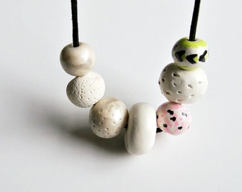 chunky necklace, clay bead necklace, modern jewelry, minimal, boho necklace, polymer clay necklace
