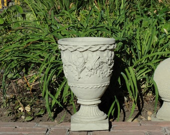 VINTAGE SPARROW'S URN Your Choice of 7 Colors. Solid Stone Decorative Planter w/ Birds & Flowers for Outdoors Home Office Wedding Planting.