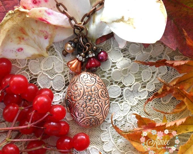antique copper oval locket, photo locket, personalized locket, locket with red dangles, scrollwork locket, victorian locket, vintage locket