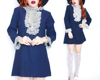 60s Vintage Blue White Lace Collar Bow Dolly Goth Tunic Top Mini Dress Small