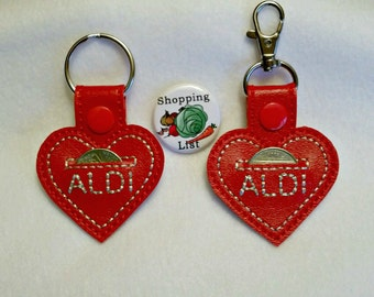 Aldi Key Chain, Aldi Key Coin Keeper- Comes with Free Shopping List Magnet