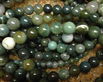 "8MM Moss Agate natural 16"" strand (approx) 8mm item #1553 new"