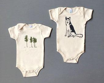 Camping Baby Set, Husky Onesie, Tree Onesie, Baby Gift, Baby Onesies, 3-6, 6-12 months
