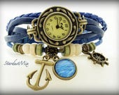 Women watch leather bracelet with a nautical themed charm gift for her women watches ladies watch women wrist watch boho watch vintage