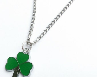 Shamrock necklace. chain link antiqued silver necklace with a St. Patrick's Day shamrock charm. choose chain length.