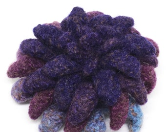 Felted Wool Flower brooch Dahlia in shades of purple and burgundy with a touch blue