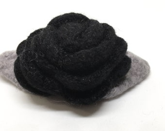 Black Rose Felted Wool Flower Brooch  with Gray Grey Leaves