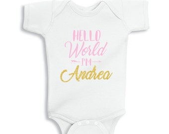 HELLO World I'm Personalized Baby Bodysuit