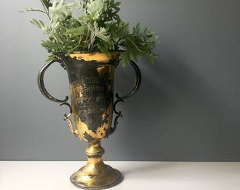 Antique loving cup trophy - Best Pullet, KY State Fair 1915 - shabby decor from the early 20th century