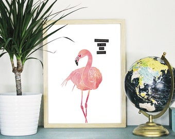PRINTABLE Watercolor Flamingo : INSTANT DOWNLOAD up to 16x20