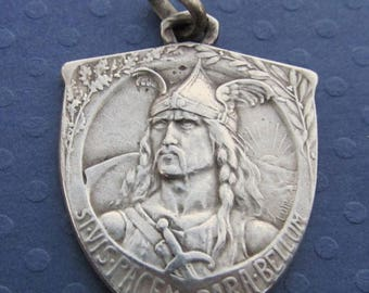 On Sale French Warrior Antique Sterling Silver Pendant, Cyclist Medal Jewelry    SS535