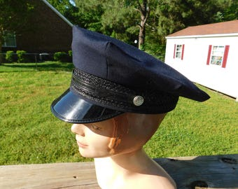 Vintage 1950'sFireman's Dress Uniform Hat Size 7 Great for a Theater or Movie Prop Costume