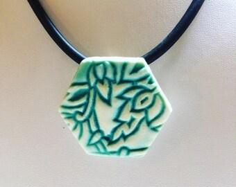 Porcelain Pendant, Textured Pendant, hexagon pendant, hexagon choker, turquoise pendant, Woodblock Print, Hextile Necklace, ceramic jewelry