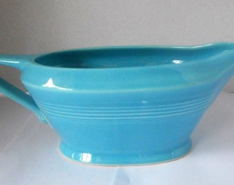 Vintage 1930s Homer Laughlin HARLEQUIN Turquoise Handled Sauce/Gravy Boat