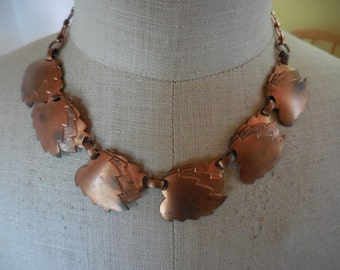 Vintage Copper Leaf Adjustable Necklace 1960s to 1970s Retro Precious Metal Leaves Thick Chunky