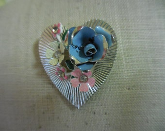 Vintage 1950s to 1960s Silver Tone Enamel Blue/Pink/White/Yellow Rhinestones Pin/Brooch Heart Shaped Pastel Colors