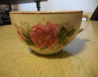 Vintage 1950s to 1960s Japan Tea Cup Single/Orphan White with Pink Rose Gold Tone