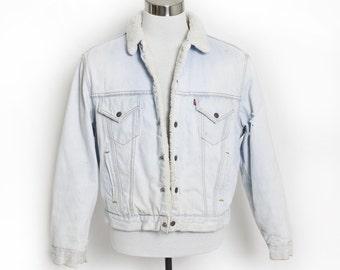 """Vintage 1980s LEVI'S Sherpa Jacket - Acid Wash Denim Fleece Jean Jacket 80s - Large 46"""""""