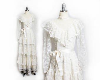 Vintage 1970s Wedding Dress - Lace Illusion Ruffle Fleur De Lis Boho Ivory Gown - Medium