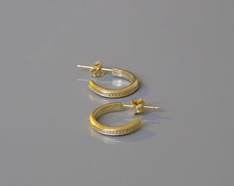 Small hoop earrings, Open hoop earrings, Textured hoops, Unisex earrings