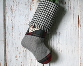 Houndstooth, Red Plaid CHRISTMAS STOCKING, with Vintage Lace