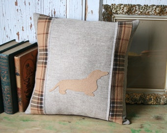 Daschund Wool Tweed PILLOW COVER - Recycled, 14 Inch