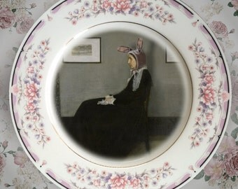 Mother Bunny....Up-Cycled Antique Plate