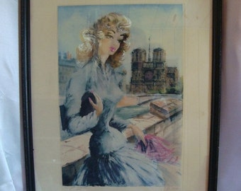 ON SALE Paris French Lady Notre Dame Cathedral Wall Hanging