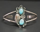 """Navajo Turquoise Cuff Bracelet Sleepy Beauty Turquoise 7"""" Circumference 1"""" Gap Signed """"D"""""""