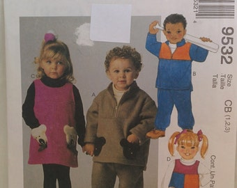 McCall's Toddler Pattern # 9532 Pullover Top, Jumper, and Pull-On Pants  Sizes 1 2 3