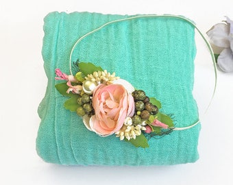 Mint and Pink Photo Prop for Newborn - Cheesecloth Wrap and Rose Pink Flower, Berry & Pearls Headband for Baby Girl Photo, Baby Shower Gift