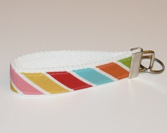 SPRING Sale Handmade Key Chain, Key Fob, Key Ring Primary Colors Stripe with White--Great Teacher Gift