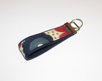SPRING Sale Fabric Key Fob Keychain--Navy, Cream and Blue Floral